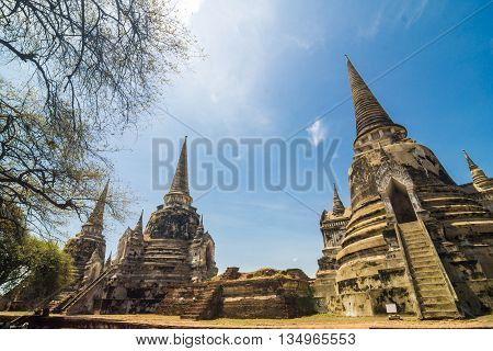 Ayutthaya Historical Park Stupa Under Blue Sky