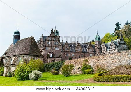 Panoramic view on the castle Emmerthal in Lower Saxony. Germany