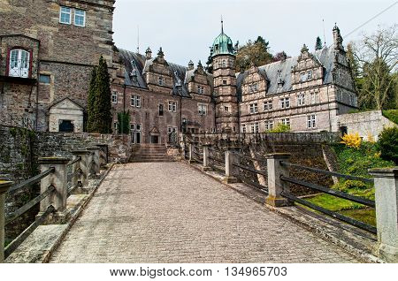 View on castle Emmerthal from the bridge going to the main entrance. Lower Saxony. Germany