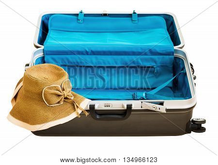 Large Luggage And Wicker Hat.