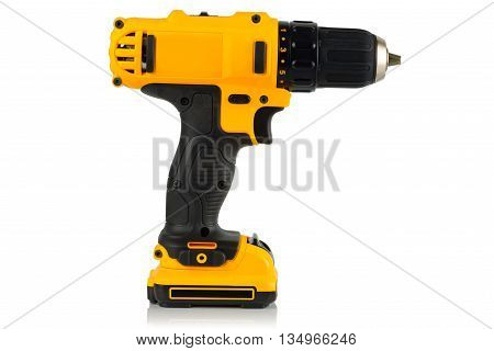 Cordless driver drill on a white background.