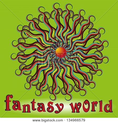 World Fantasy emblem vector illustration Fantasy World logo on a green background colored strips and curls with letters, words and shadow vector illustration