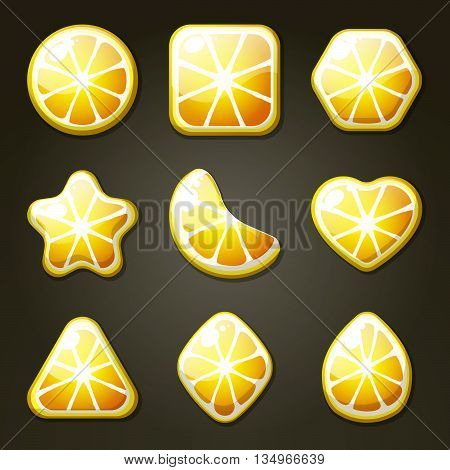 Set of yellow lemon candies for match three game