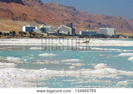 salt deposits, typical landscape of the Dead Sea, Israel