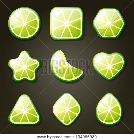Set of lime candies for match three game