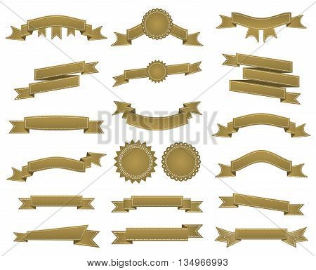 Embroidered Bronze Ribbons And Stumps Pack Isolated On White. Can Be Used For Banner, Award, Sale, I