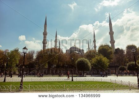 ISTANBUL,TURKEY - OCTOBER 2, 2014: View of Blue Mosque Sultanahmet Camii in Istanbul from the Hippodrome Square