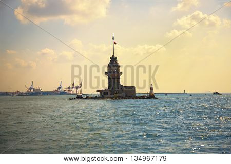 Maiden's Tower in Istanbul during sunset, Turkye
