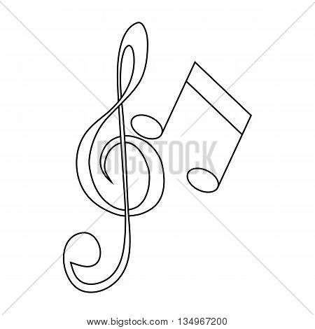 Music key and notes icon in outline style on a white background