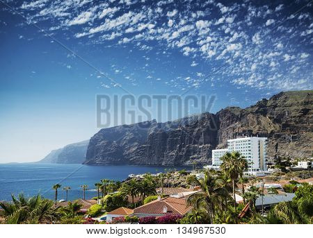 los gigantes cliffs nature landmark and resorts in south tenerife island spain