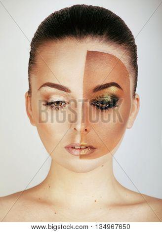 half faced woman before tanning and after close up isolated on white
