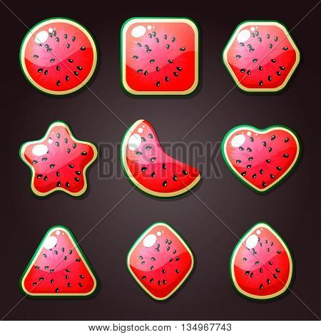 Set of watermelon candies for match three game