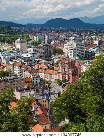 LJUBLJANA SLOVENIA - 26TH MAY 2016: High view of buildings in Ljubljana Slovenia during the day.
