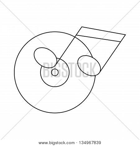 Musical notes and cd disk icon in outline style on a white background