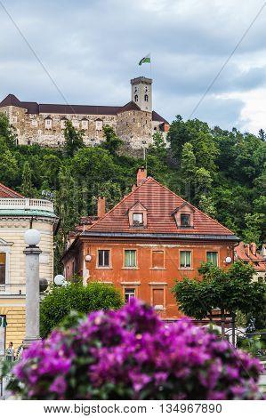 LJUBLJANA SLOVENIA - 26TH MAY 2016: A view towards Ljubljana Castle during the day