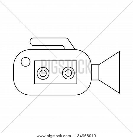 Video camcorder with video cassette icon in outline style on a white background
