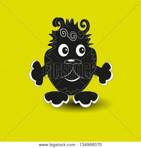 Good black monster with claws, eyes and nose funny on yellow background vector illustration