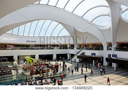 BIRMINGHAM, UNITED KINGDOM - JUNE 6, 2016 - Grand Central shops and restaurants in New Street railway station Birmingham England UK Western Europe, June 6, 2016.