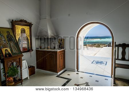 25 may 2016.In Ayia NAPA.The interior of the Church of Saint Thekla on the Mediterranean sea in Ayia NAPA. Cyprus.
