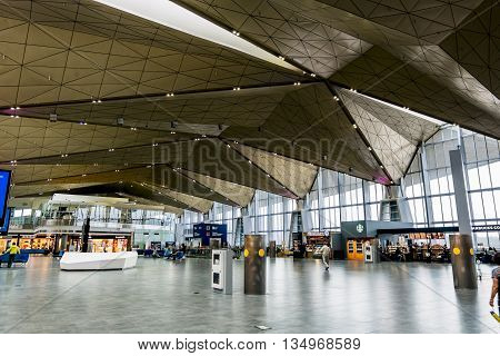 19 may 2016. Saint-Petersburg. The inner space of the international terminal of the airport Pulkovo in Saint-Petersburg. Russia.