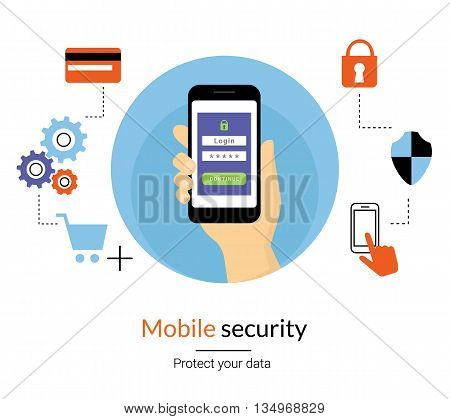 Mobile website authentication concept line illustration of human hand holds smartphone and do log in using verification password or code. Get an access to the website flat icon with security symbols