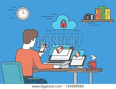 Security for laptop, tablet and smartphone concept illustration of young man holds smartphone and working with laptop and tablet. Desktop security and multiscreen data protection