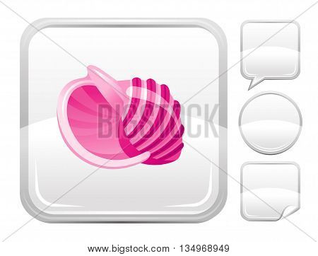 Sea summer beach and travel icon with pink sea shell on square background and other blank button forms - speaking bubble, circle, sticker