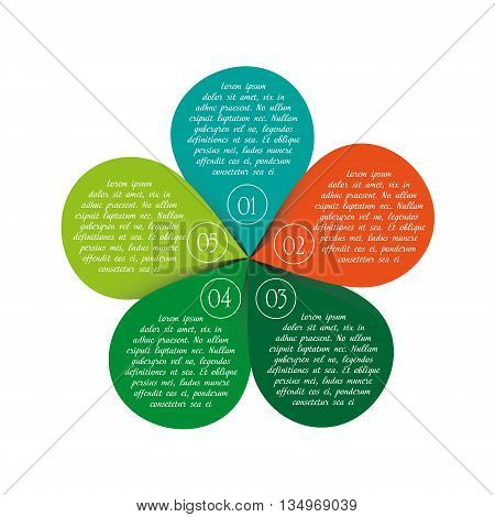 Vector circle nature info graphic template with five options parts Infographic in flower style with inscriptions and options on five petal