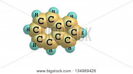 Azulene is an organic compound and an isomer of naphthalene. Whereas naphthalene is colourless azulene is dark blue. 3d illustration