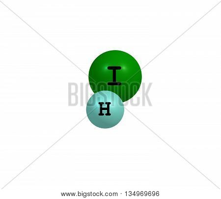 Hydrogen iodide - HI - is a colorless gas that reacts with oxygen to give water and iodine. 3d illustration