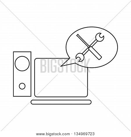Technical support, computer repair icon in outline style on a white background