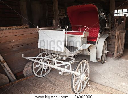 Vintage White Coach With Red Saloon
