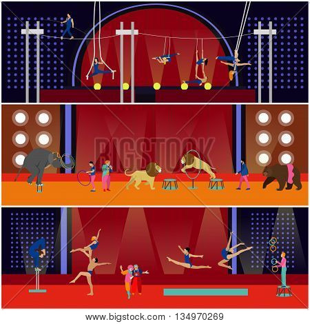 Vector set of circus interior concept banners. Acrobats and artists perform show in arena. Circus interior. Animals show and performance.