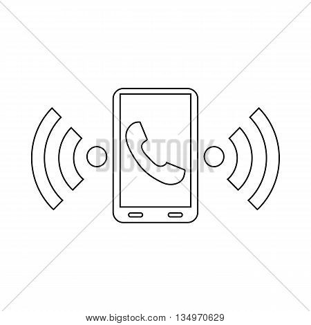 Incoming call to the phone icon in outline style on a white background