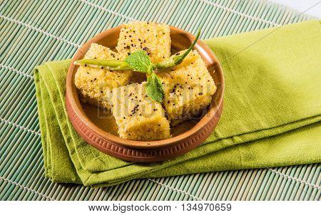 favourite Gujrati snack, khaman Dhokla made up of gram flour, semolina