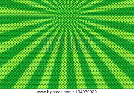 Dark green and light geen rays from the top with hexagonal pattern