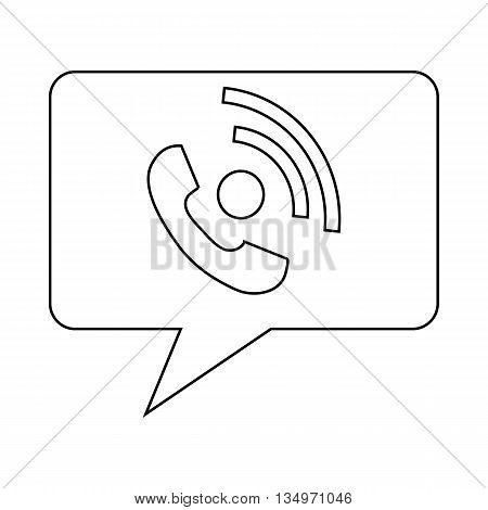 Speech bubble with handset inside icon in outline style on a white background