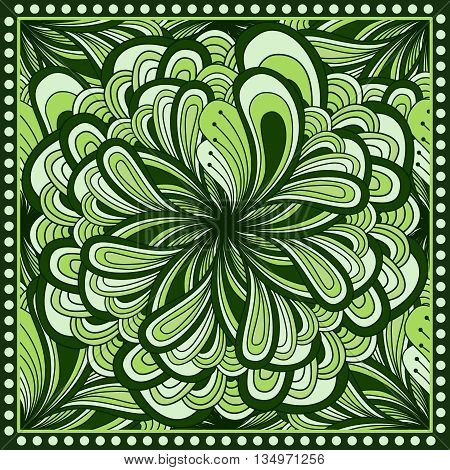 Bandana Print With  Fantasy Flower In Green Color. Square Pattern Design For Pillow, Carpet, Rug. De
