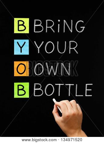 Hand writing BYOB Bring Your Own Bottle with white chalk on blackboard. Acronym often used on party invitations where the alcohol is not provided and you have to bring your own.
