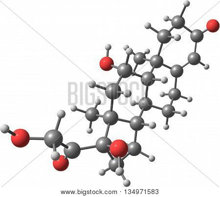 A molecular model of the hormone Hydrocortisone or Cortisol. IT is primarily released from the adrenal gland as a response to stress. Isolated on white. 3d illustration