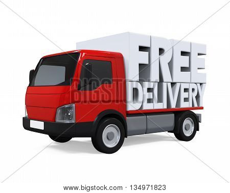 Delivery Van with Free Delivery Text isolated on white background. 3D render
