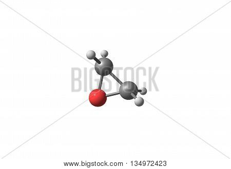 Ethylene oxide also called oxirane is the organic compound. It is oxide is a colorless flammable gas at room temperature with a faintly sweet odor. 3d illustration