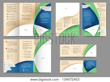 Set of colored abstract brochure template with abstract lines and waves for your business
