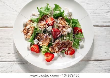 Food Salad Cuisine Original Fresh Meat Strawberry Recipe Snack Homemade Healthy Eating Concept