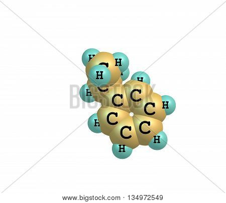 Cumene is the common name for isopropylbenzene an organic compound that is based on an aromatic hydrocarbon with an aliphatic substitution. 3d illustration