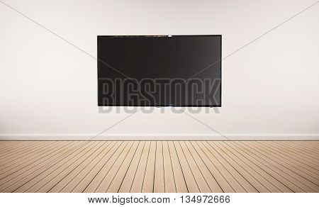 Interior space, oak wood floor with white wall and LED smart TV