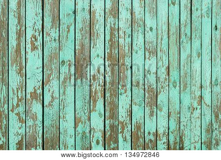 Fragment of aged wooden boards background with peeling green paint