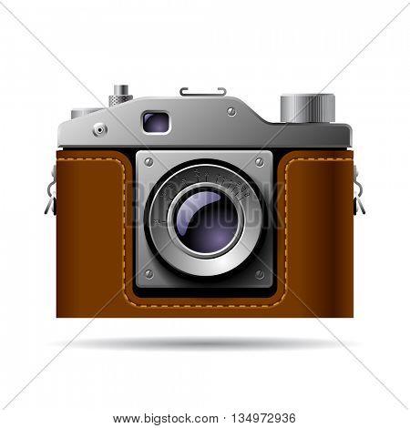 Retro photo camera icon isolated on white. 3D Illustration
