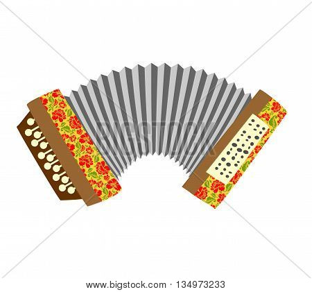 Accordion. Musical instrument white background. Vector illustration.