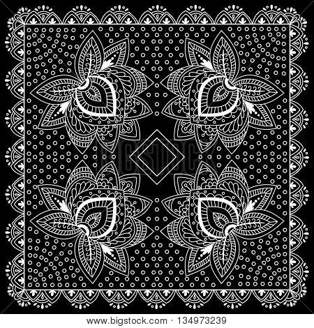 Black And White Abstract Bandana Print With  Element Henna Style. Square Pattern Design For Pillow,